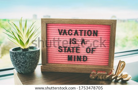 COVID-19 vacation at home pink funny sign for coronavirus travel restrictions this summer. Swimming  Stock photo © Maridav