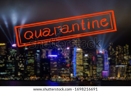 Quarantine due to coronavirus epidemic covid19 Hong Kong cityscape at night Stock photo © galitskaya