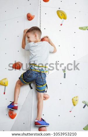 Children playing at playground, boys climbing at rope wall, gymnastic circles, climbing at ladder Stock photo © robuart