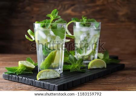 Bril mojito cocktail mint kalk Stockfoto © DenisMArt