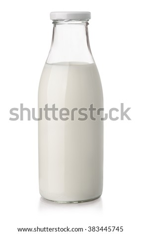 glass milk bottle on a white background Stock photo © OleksandrO