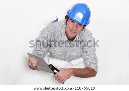 плитка человека строительство работу синий работник Сток-фото © photography33