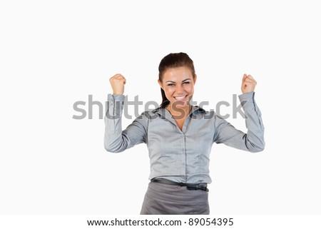 улыбаясь деловая женщина вверх белый бизнеса женщину Сток-фото © wavebreak_media