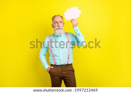Idea man - brainstorming. Handsome mature man contemplating. Gra Stock photo © HASLOO