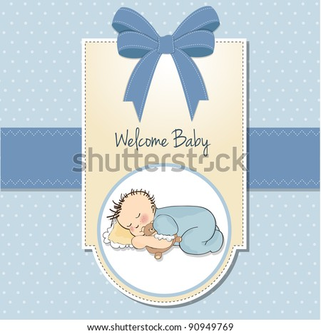 Stock photo: baby shower card with little baby boy sleep with his teddy bear