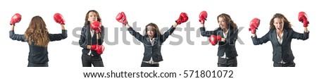 серьезный · спортивных · женщину · Боксер · Постоянный · белый - Сток-фото © nobilior