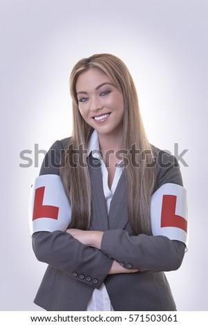 Empresária placas mulher braço letra l Foto stock © jayfish