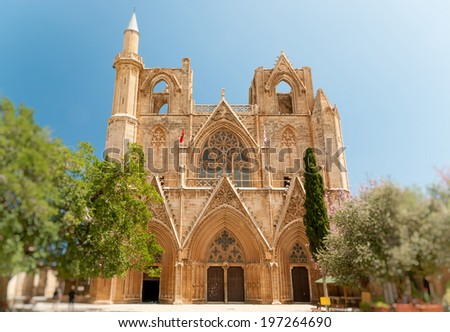 lala mustafa pasha mosque formerly st nicholas cathedral famagusta cyprus stock photo © kirill_m