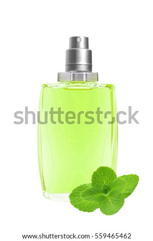 perfume in beautiful blue bottle and mint herb isolated on white Stock photo © tetkoren