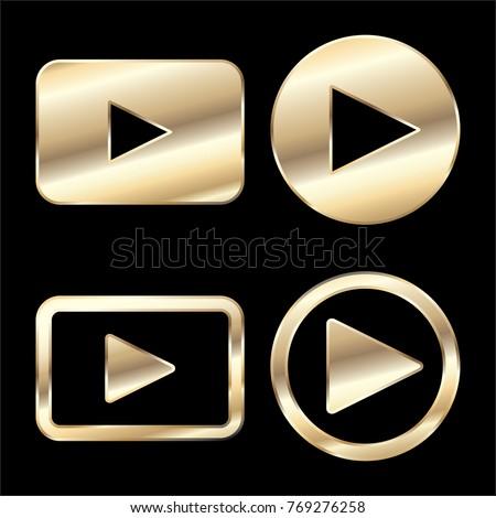 Indirmek video altın vektör ikon dizayn Stok fotoğraf © rizwanali3d