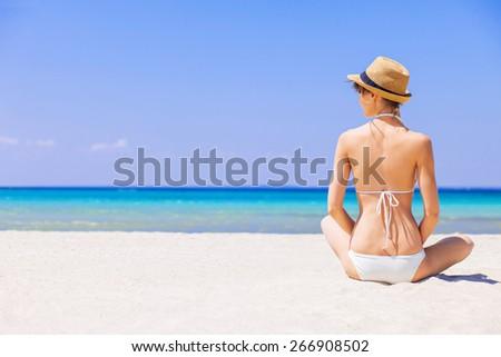 Blauw lingerie lang bleek brunette donkere Stockfoto © disorderly