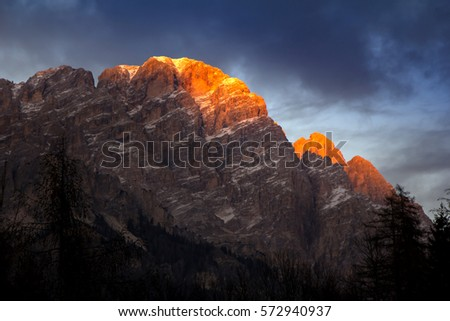 sunset in dolomites mountains around famous ski resort cortina stock photo © smuki