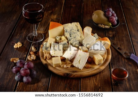fromages · raisins · verre · vin · blanc · été - photo stock © yatsenko