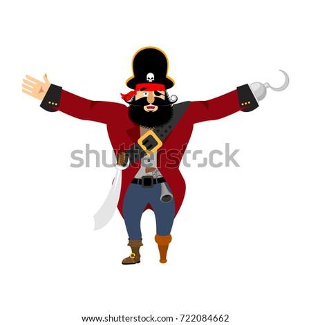 pirate happy filibuster merry buccaneer cheerful vector illus stock photo © popaukropa