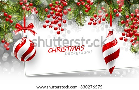 Christmas decoration with snow, pine and ball with sparkly background Stock photo © alphaspirit