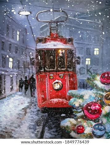 art christmas tree and old city european christmas street holid stock photo © konstanttin