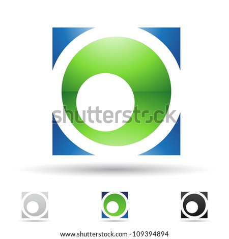 Striped Square Black and Green Icon for Letter O Vector Illustra Stock photo © cidepix