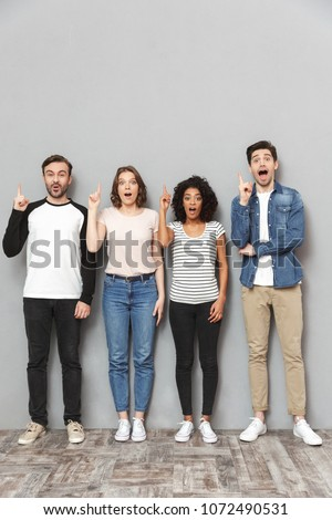 Shocked group of friends have an idea. Stock photo © deandrobot
