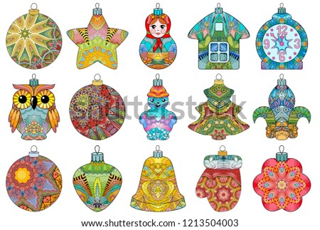 zentangle stylized christmas decorations hand drawn lace vector illustration stock photo © natalia_1947