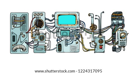 Cyberpunk robots mechanisms and machines. Details of the spacecr Stock photo © studiostoks