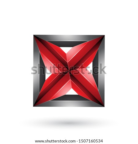 Black and Red 3d Geometrical Embossed Square and Triangle Shape  Stock photo © cidepix