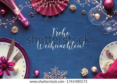 Christmas Golden Snowflakes Bauble Frohe Weihnachten Red Knittin Stock photo © limbi007