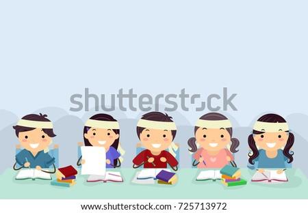 Stickman Kids Cram School Border Illustration Stock photo © lenm