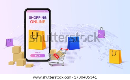 isometric flat vector landing page template of worldwide freight shipping stock photo © tarikvision