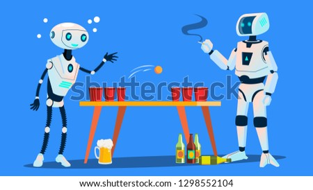 Two Robots Playing Beer Pong On Party Vector. Isolated Illustration Stock photo © pikepicture