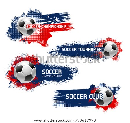 Soccer Award Vector. Football Ball, Golden Cup. Sports Game Event Announcement. Football Banner Adve Stock photo © pikepicture