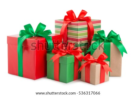 green and white christmas gift boxes with red ribbons on chair n stock photo © dashapetrenko