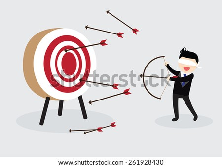 Blindfolded Businessman Aiming At Target From A Bow Vector Flat Cartoon Illustration Stock photo © pikepicture