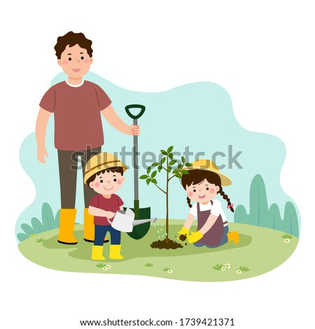 Girl and dad planting the tree Stock photo © colematt