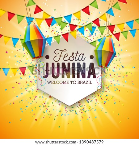 festa junina festival design with party flags and paper lantern on colorful confetti background vec stock photo © articular