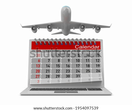 airplane and calendar on white background. Isolated 3D illustrat Stock photo © ISerg