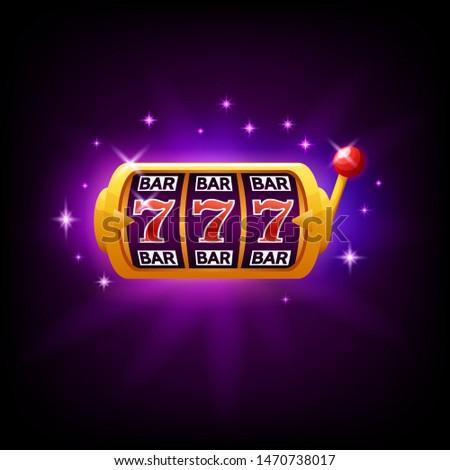 BAR slot icon with sparkles for online casino or mobile phone game, vector illustration on dark purp Stock photo © MarySan