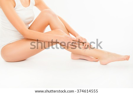 Photo of beautiful slim body. Woman's shape with clean skin, fla Stock photo © serdechny