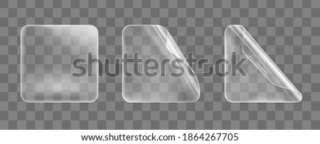 Vector blank transparent plastic square adhesive sticker mock up with curved corner. Empty quadratic Stock photo © Iaroslava