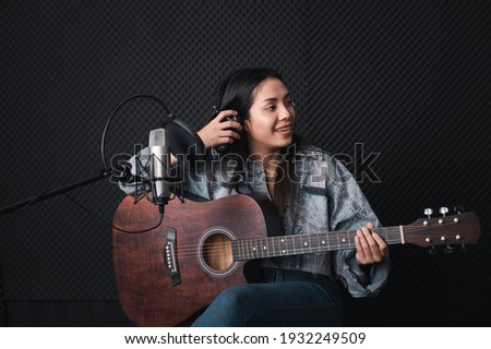 musician play guitar on studio Stock photo © Lopolo