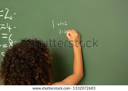 вид сзади школьница математика зеленый совета классе Сток-фото © wavebreak_media