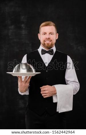 Foto stock: Feliz · jóvenes · elegante · camarero · blanco