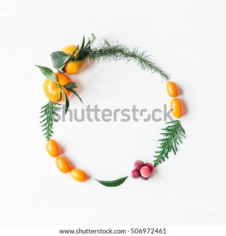 Natal coroa laranjas frutas Foto stock © ikopylov