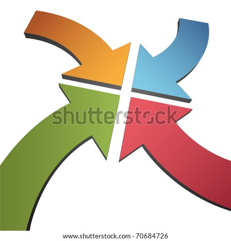 Four curving arrows sweep inward to point at the center , 4 arrows in 4 directions. Stock Vector ill Stock photo © kyryloff