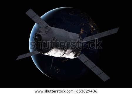 Cargo spacecraft - The Automated Transfer Vehicle over spiral galaxy. Stock photo © NASA_images