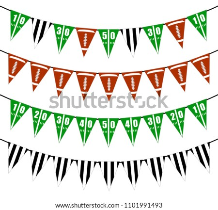 Hanging Bunting Flags for American Holidays card design. American flag garland with confetti backgro Stock photo © olehsvetiukha