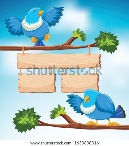 Sign template with two blue birds on the branch background Stock photo © bluering