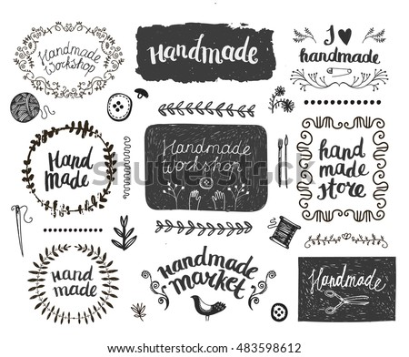 Hand Made hand drawn vector doodles illustration. Handmade poster design. Stock photo © balabolka