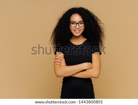 スリム 満足した 女性 アフロ 黒 ストックフォト © vkstudio