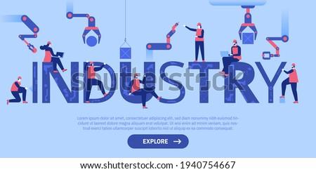 Robotics construction concept landing page. Stock photo © RAStudio