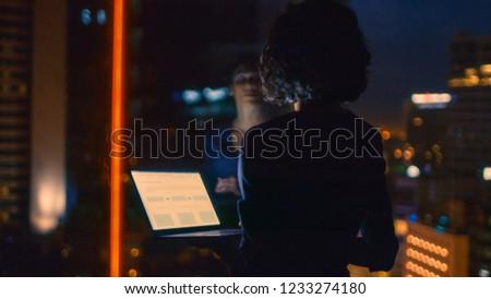 Nő néz ki ablak áll fény Stock fotó © dashapetrenko